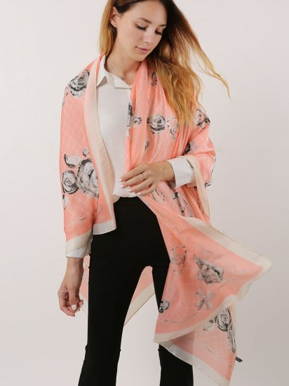 SF1120 Pink - Floral Pattern Scarf And Shawl With Cross Lines