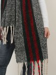 SF1127 Black - Variegated Color Stripe Scarf For Women