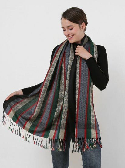 SF1132 Black - Various Pattern Scarf With Colorful Tassels