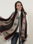 SF1134 Black - Elephant Pattern Scarf With Tassels
