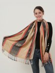 SF1134 Camel - Elephant Pattern Scarf With Tassels