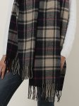 SF1152 Navy -Lattice Pattern Scarf With Tassels