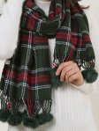 SF957-1 Green - Plaid Soft Long Scarf With Pom Pom Detail