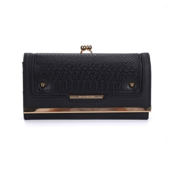 SY1440-2 Black - Sally Young Crocodile Splicing Metal Frame Kiss-lock Purse