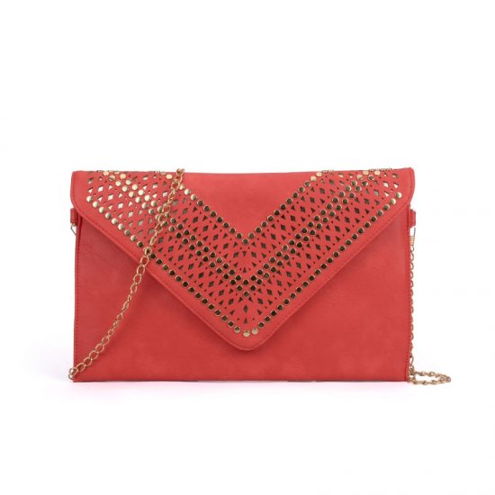 VK5292 Red - Studded Hollow Clutch Bag With Chain Shoulder Strap