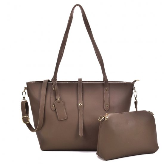 VK5407 Tea - Solid color Handbag And Set Bag With Dome Studs