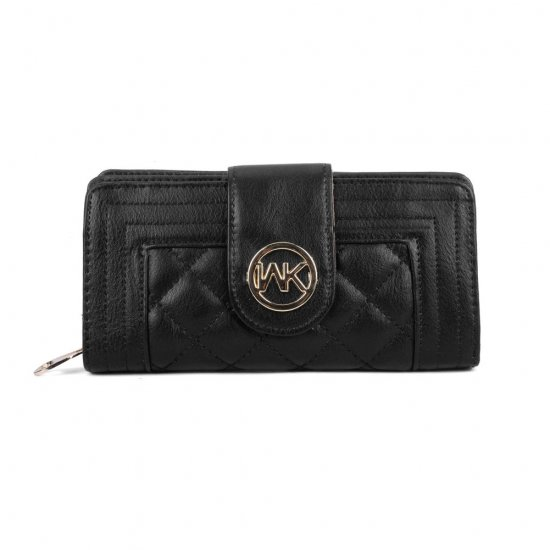 VKP1538 Black - Quilted Metail Detail Trim Purse