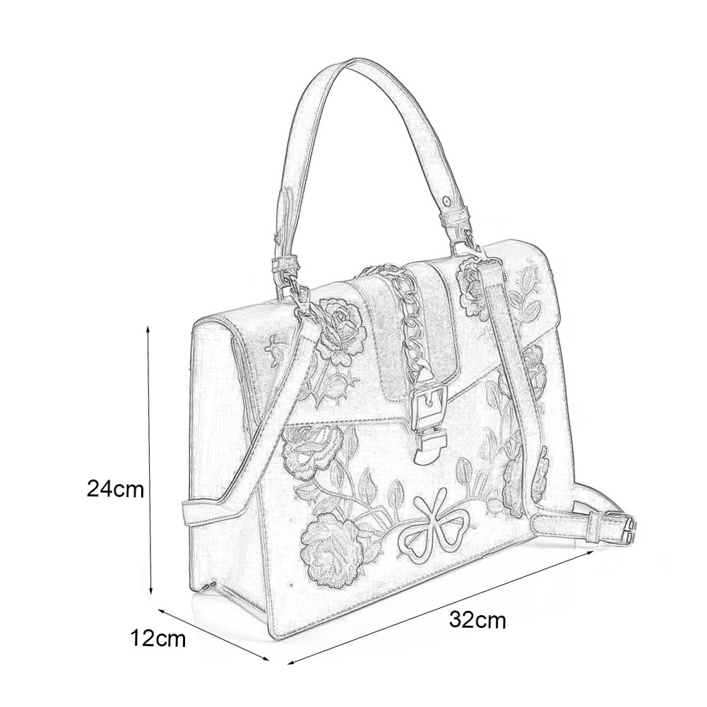 K0007-1 White - Floral Embroidery Handbag With Lock Detail