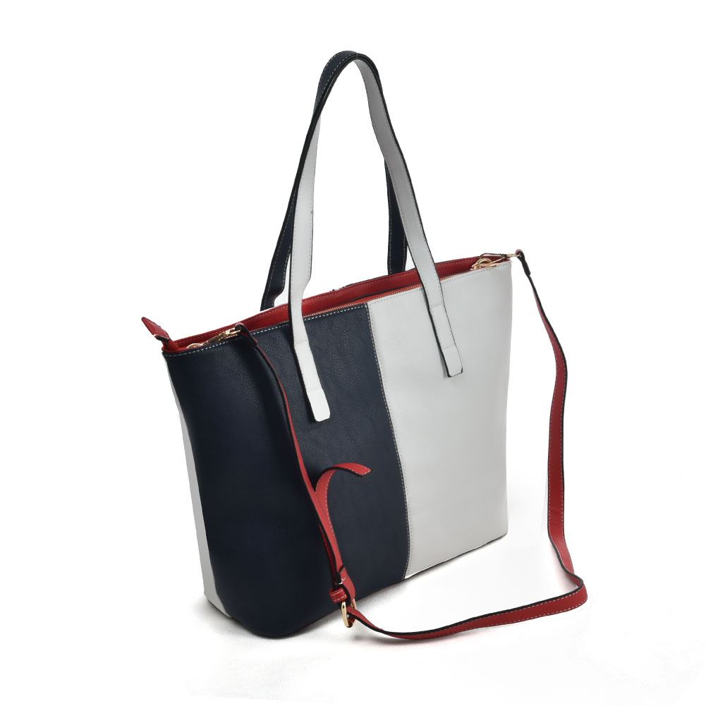 K0024 White - Vertical Contrasting Colors Double-duty Handbag For Women