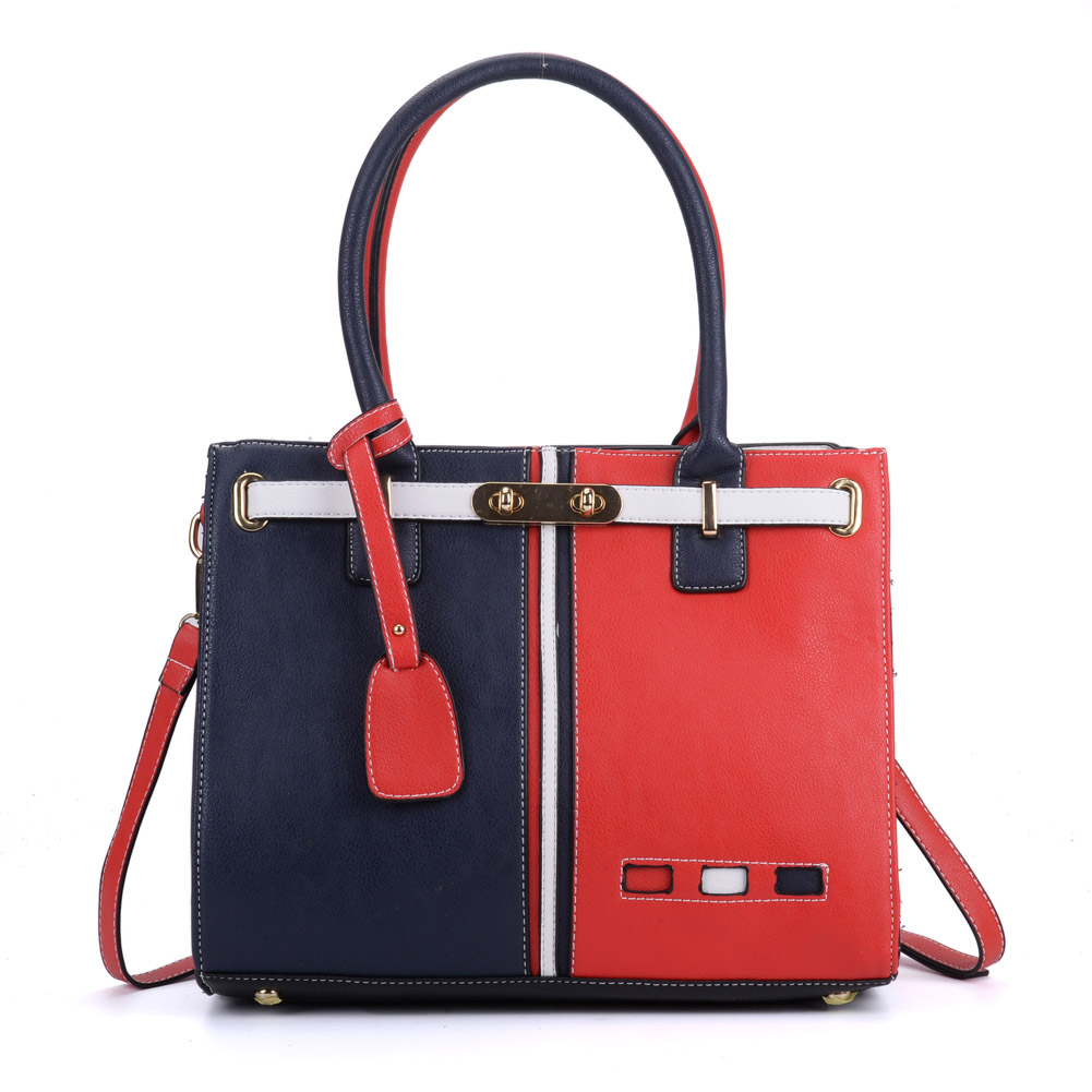 K0031 Navy - Contrast Color Boxy Tote Bag