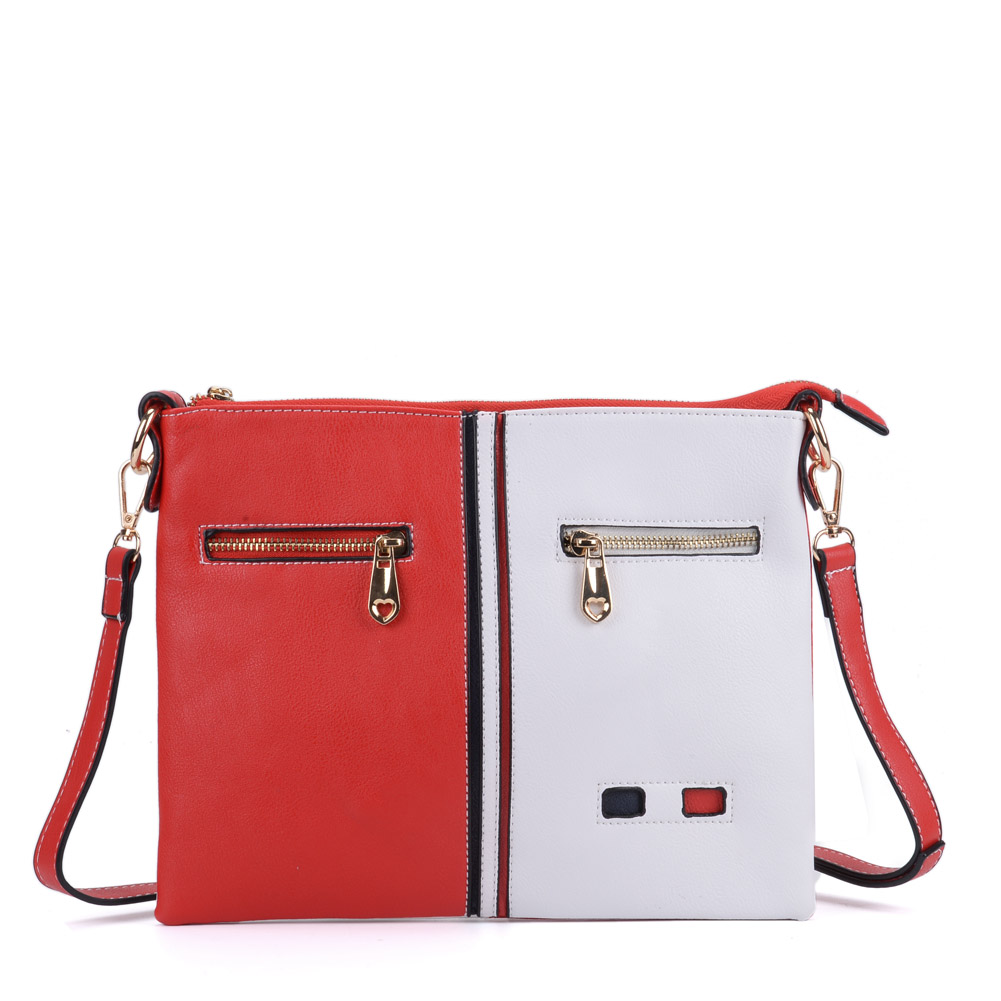 ca73e3e20d1c K0034 Red - Patchwork Cross Body Bag With Zip Front