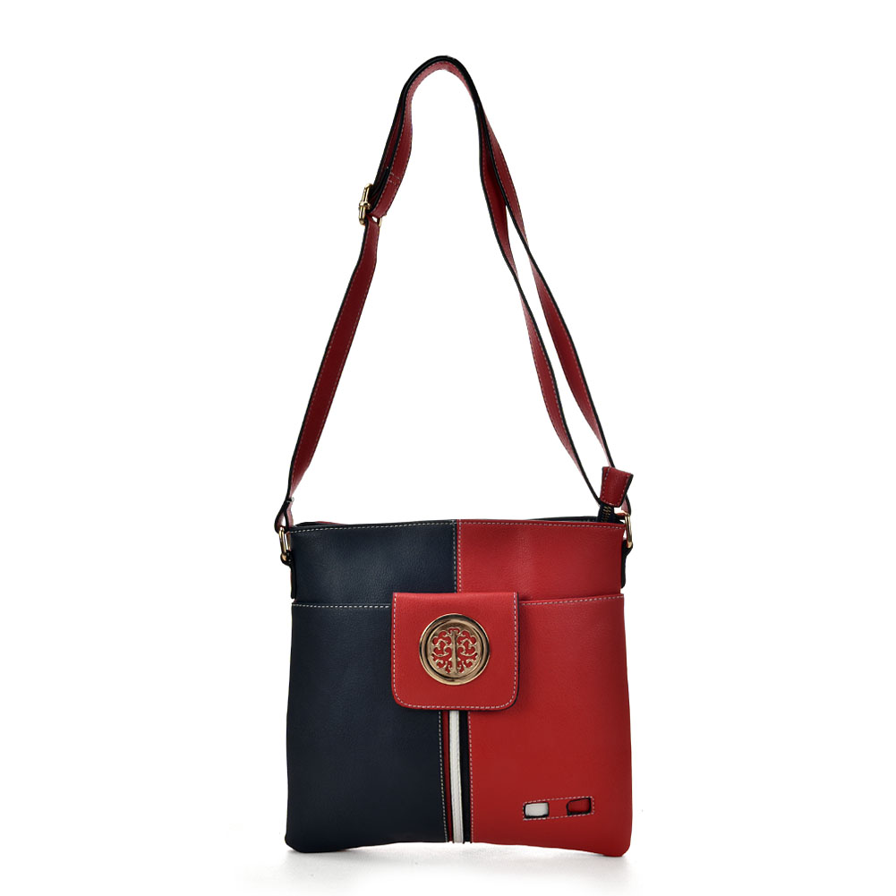 23b304a2911853 K0037 Navy - Contrasting Colors Cross Body Bag With Double Layer Pocket
