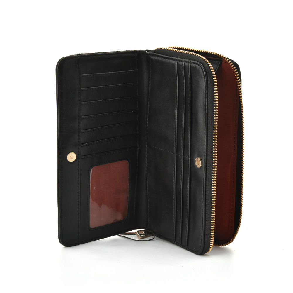 LBQ438 Black - Sally Young Elegant Contrast Color Patchwork Wallets