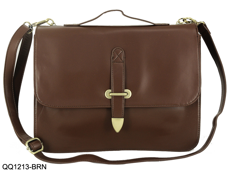 QQ1213 Brown - Promotion Messenger Bag with Front Strap
