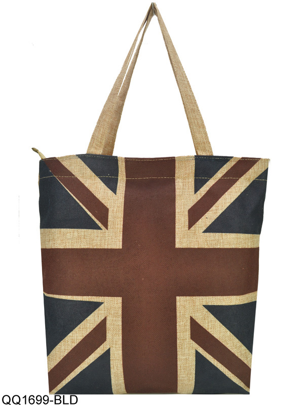 QQ1699 Dark Blue - Linen Shopper Bag In Union Jack Print