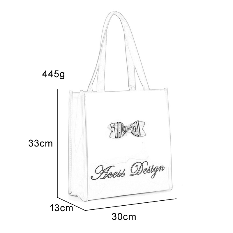 QQ2020-4 Black - Bowknot Decoration Patent Large Women Tote Bag Casual Handbag - Click Image to Close