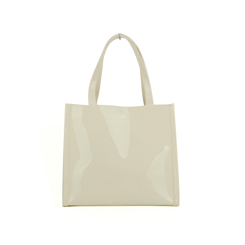 QQ2064-5 Beige - Boutique Glossy Shopper Bag Handbag with Zip