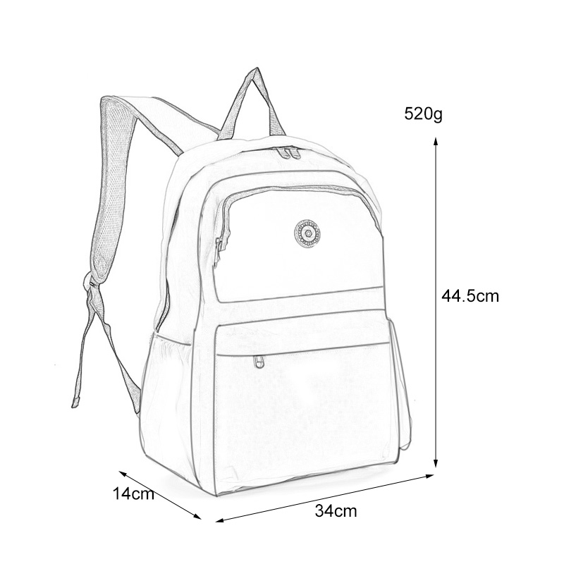 QQ2013-1 Fushia - Simple Solid Travel Oxford Backpack School Rucksack