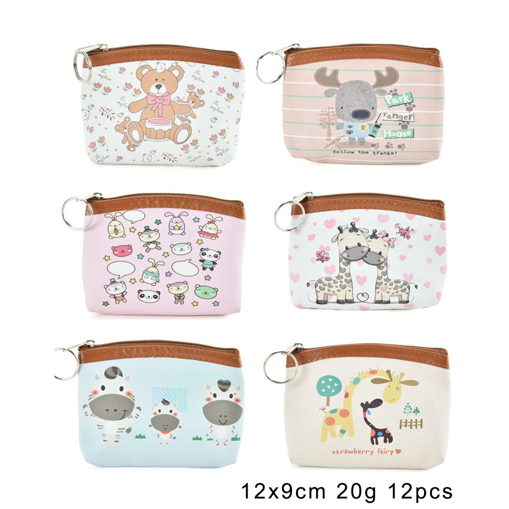 QQ2182 Assort Color 12pcs - Cartoon Mini Animal Print Coin Purse