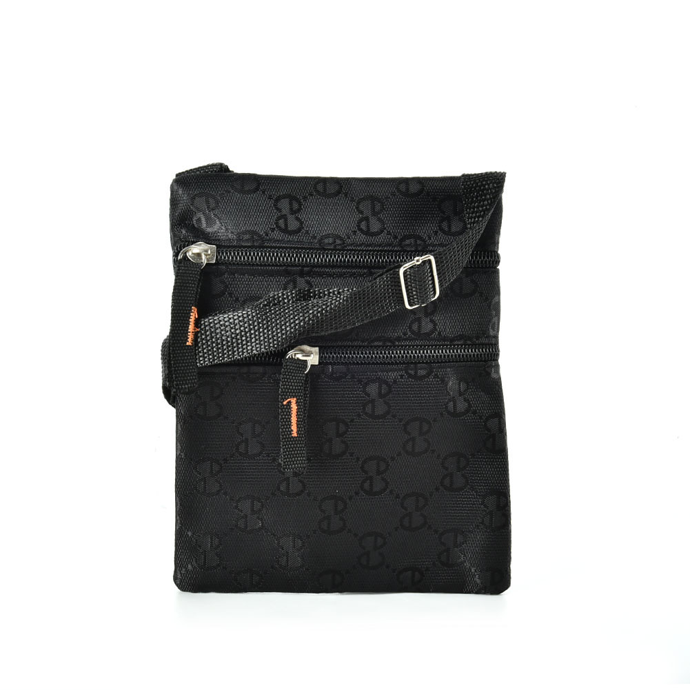 QQ2200 Black - Classic Double E Cross Body Bag With Zip Front