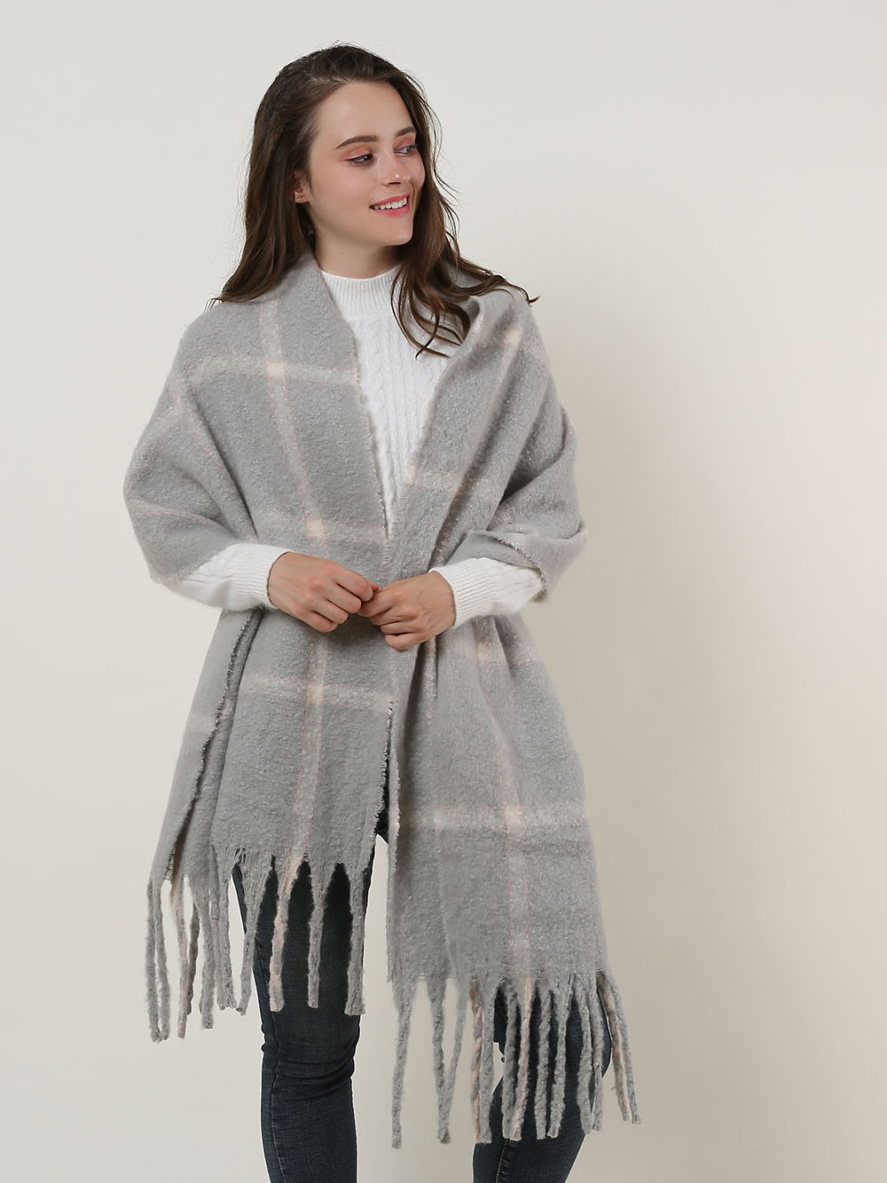 SF1129 Grey - Large Lattice Pattern Scarf With Tassels