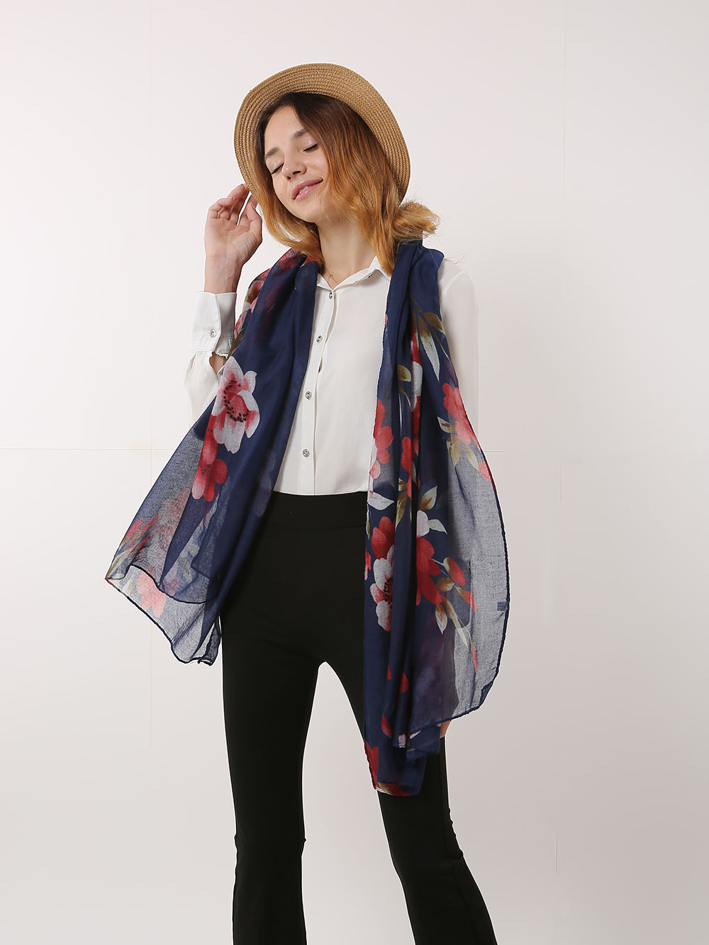 SF1167 Navy - Classic Floral Pattern Scarf For Women