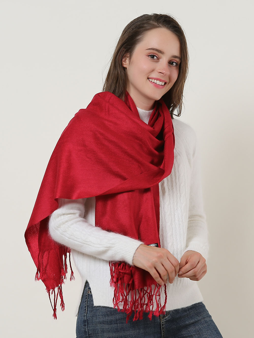 SF503 Red - Solid Color Scarf With Tassles