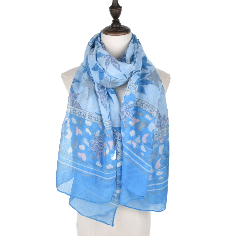 SF910 Blue - Women Warm Maple Pattern Light Scarf