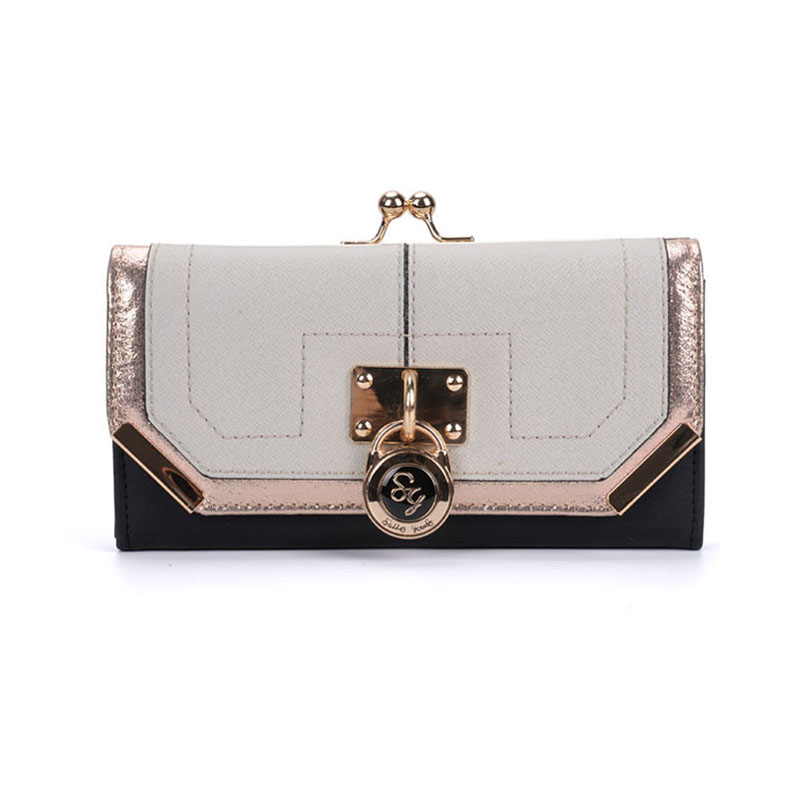 SY1441-1 Beige - Sally Young Fashion Splicing Design Metal Frame Padlock Decoration Kiss-lock Purse