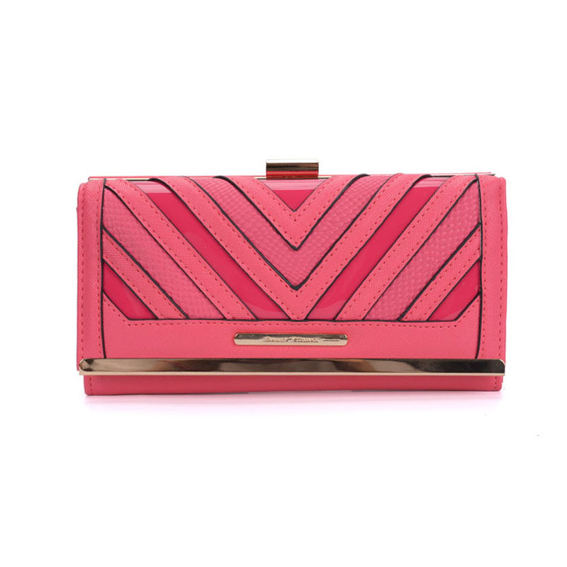 SY1523-1 Fushia - Sally Young Fashion Stripes Patchwork Multifunction Women Purse
