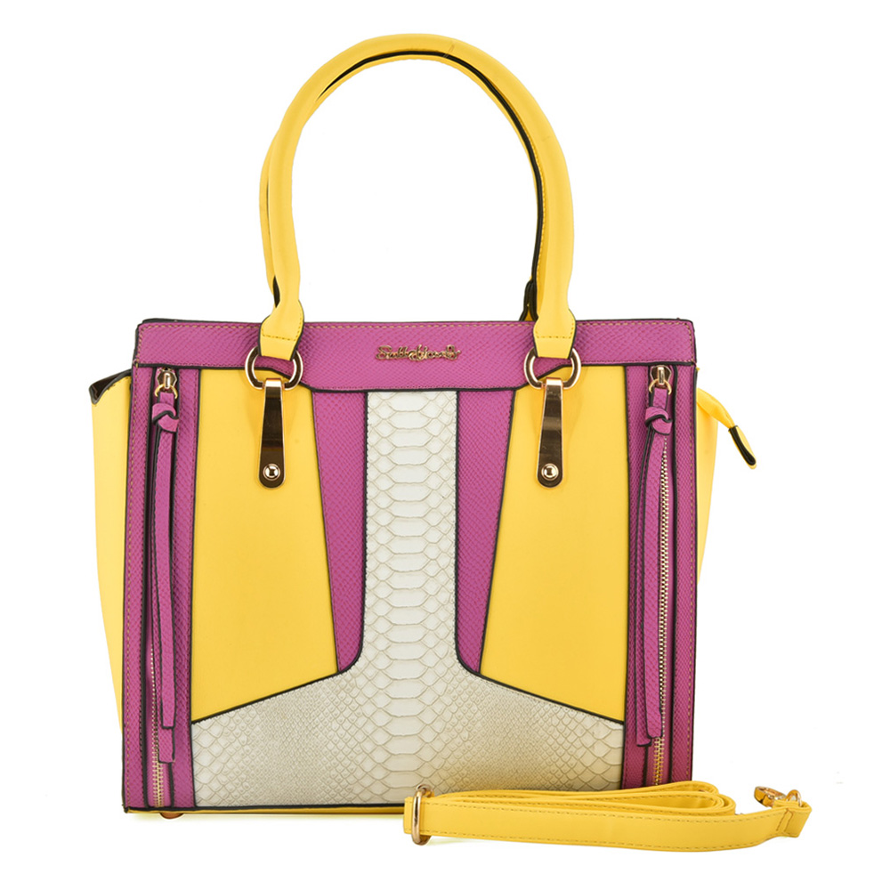 SY2017-2 Yellow - Patchwork Tote Bag With Double Zip Detail