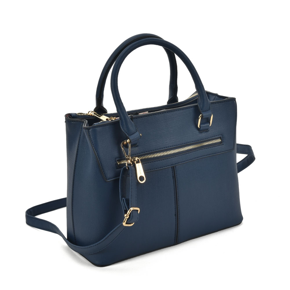 SY2154 Blue - Lady Front Zipper Tote Bag