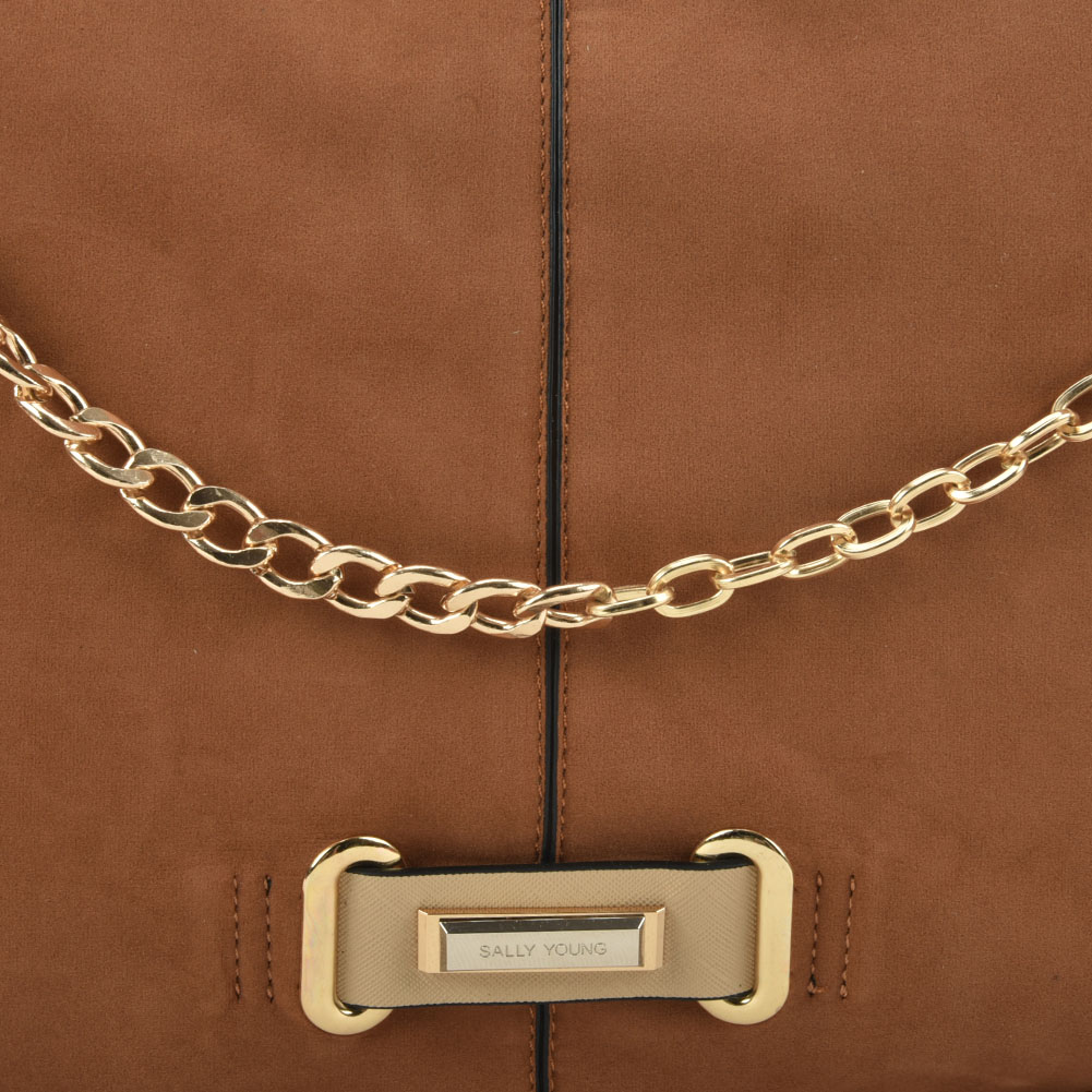 SY2159 Tan - Chain Handle Slouch Bag