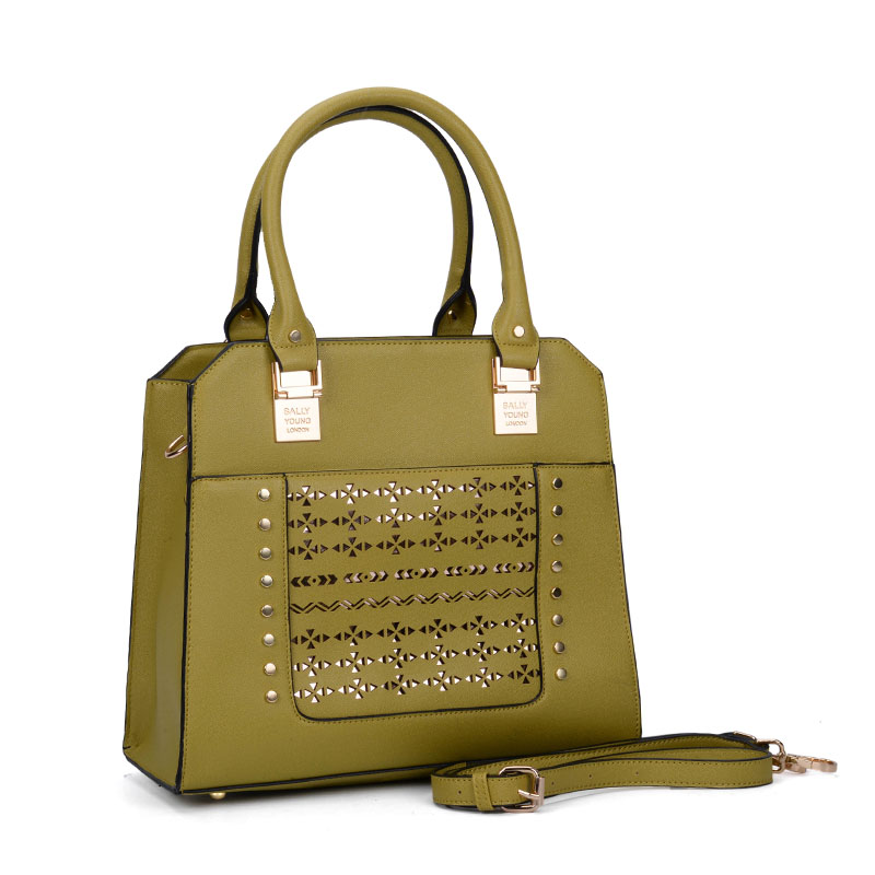 SY5031 Green - Women Solid Hollow Rivet Handbage