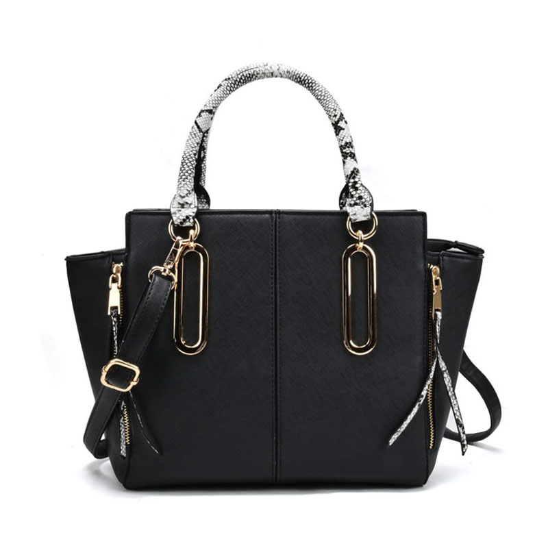 VK2062 Black - Zip Side Serpentine Handle Tote Bag