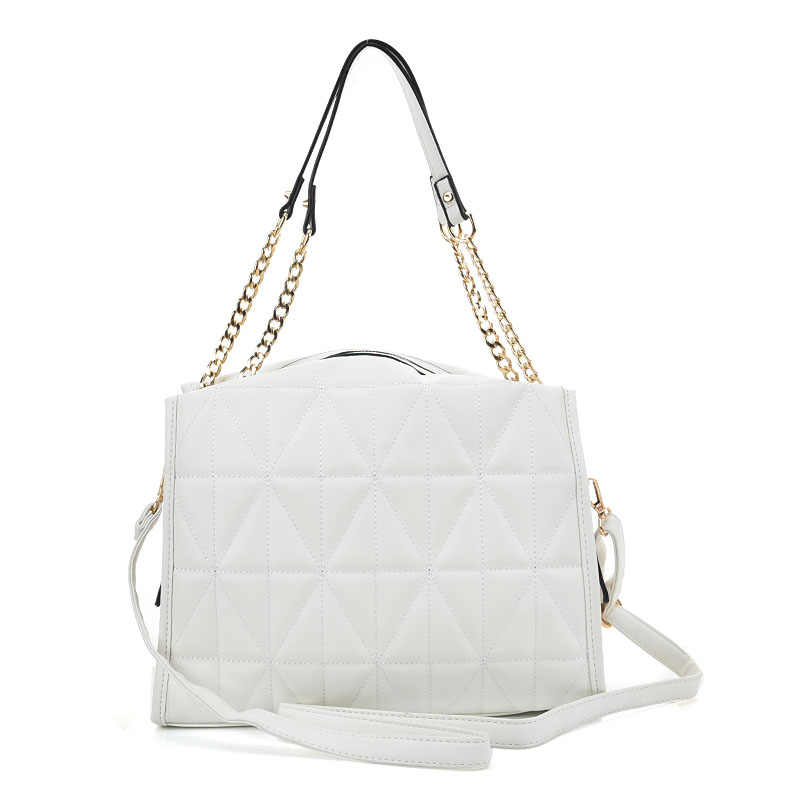 VK2102 White - Quilting Shoulder Bag With Studs - Click Image to Close