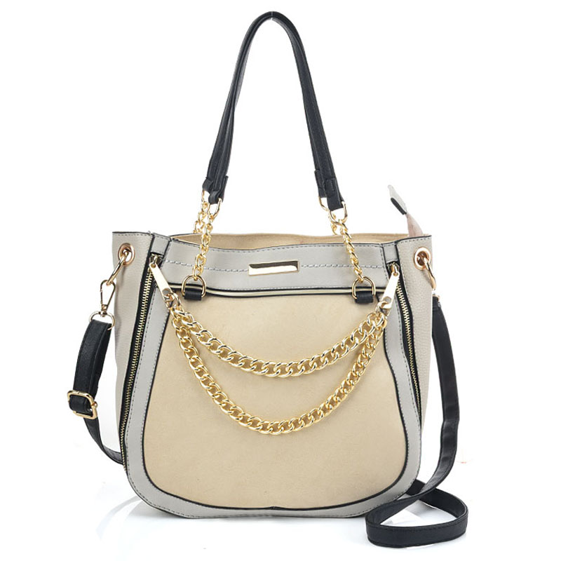 a2cb0a25ff6f VK2103 Grey - Contrasting Colors Handbag With Chain Detail