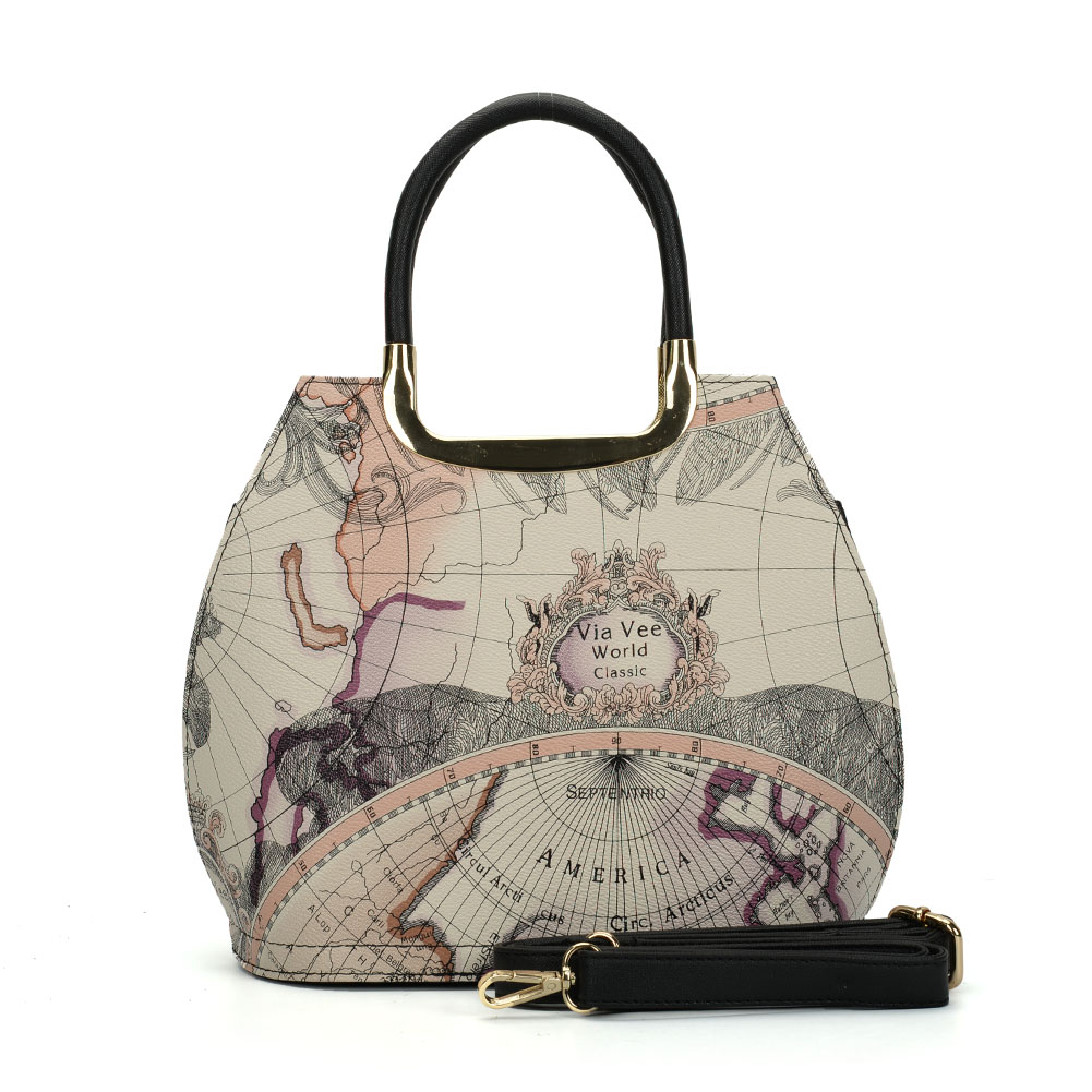VK5111 Beige - Fashion Women Map Pattern Hangbag - Click Image to Close
