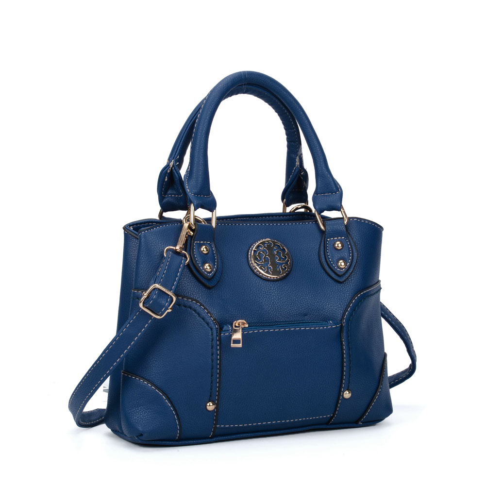 VK5140 Blue - Metal Sheets Decoration Solid Women HandBags
