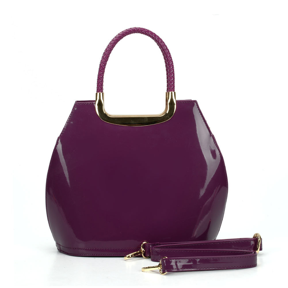 VK5187 Purple - Smooth Solid Women Zipper Handbags