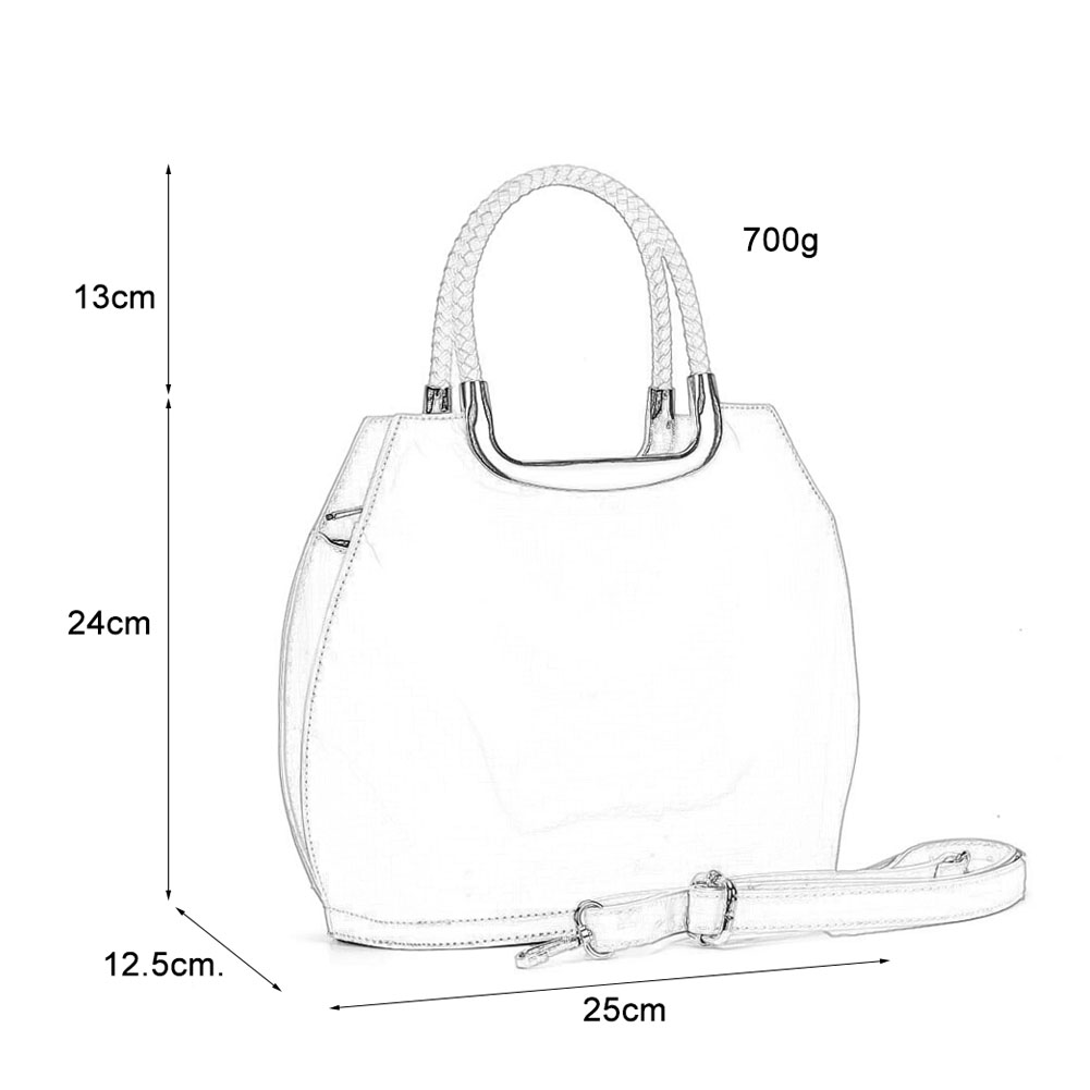 VK5187 Silver - Smooth Solid Women Zipper Handbags