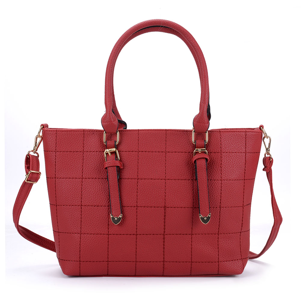 VK5221 Red - New Lady Large Quilted Tote Bag [5056083925735 ... : quilted tote bags cheap - Adamdwight.com