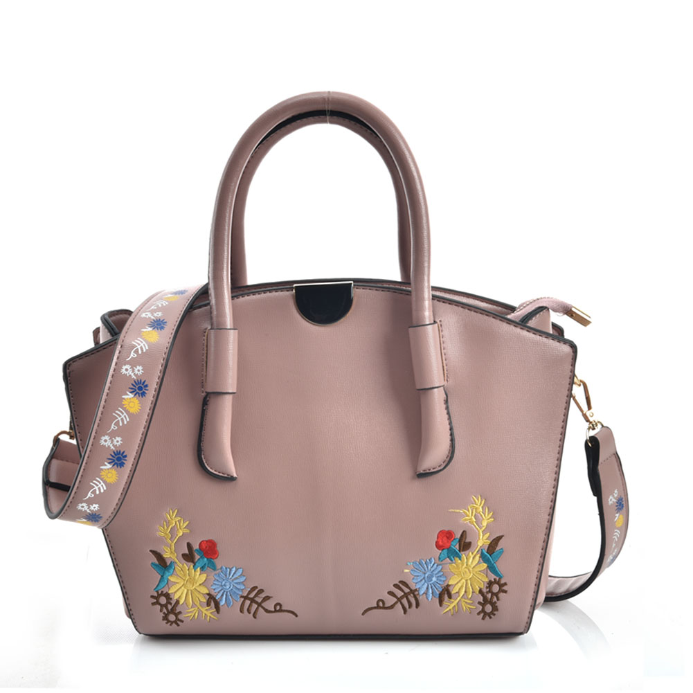 VK5444 Pink - Superior Quality Dual-Use Handbag With Embroidery Design