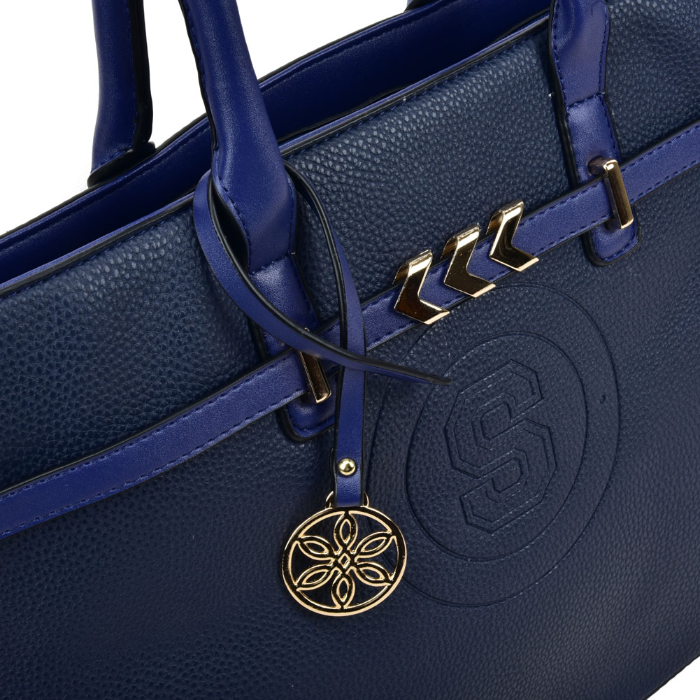 VK5483 Blue - Solid Color Handbag With Metal Detail - Click Image to Close