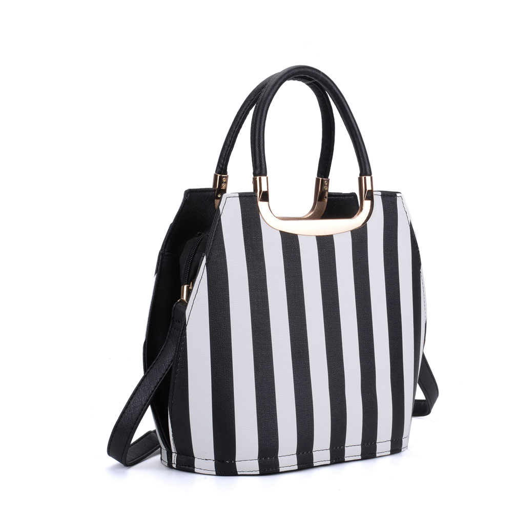 VK8888-16 - White Vertical Stripes Tote Bag With Metal Detail