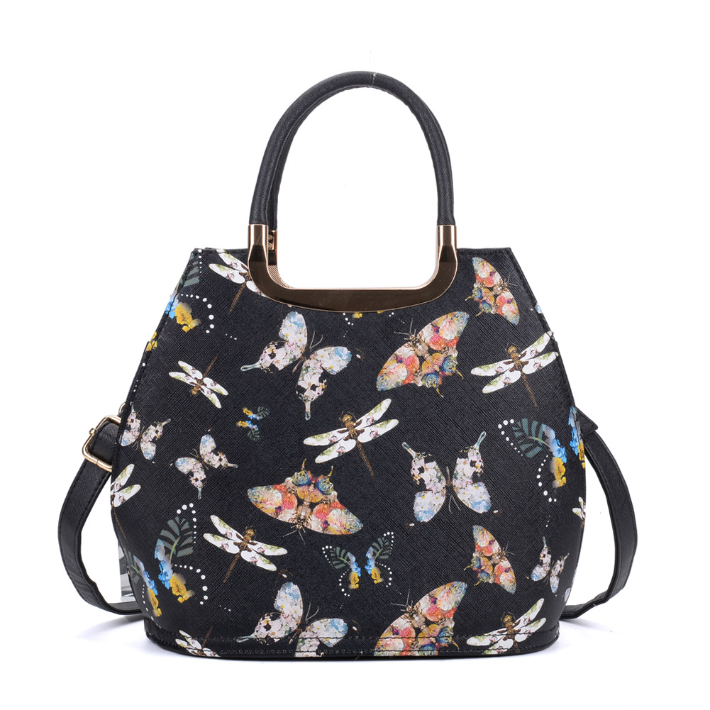 VK8888-28 - Black Butterfly Tote Bag With Metal Detail - Click Image to Close