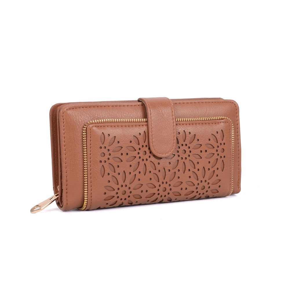 VKP1396-1 Brown - Hollow Flower Pattern Women Wallet
