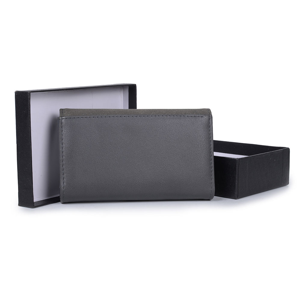VKP1489 Dark Grey - Solid Color Fashion Lady Wallet