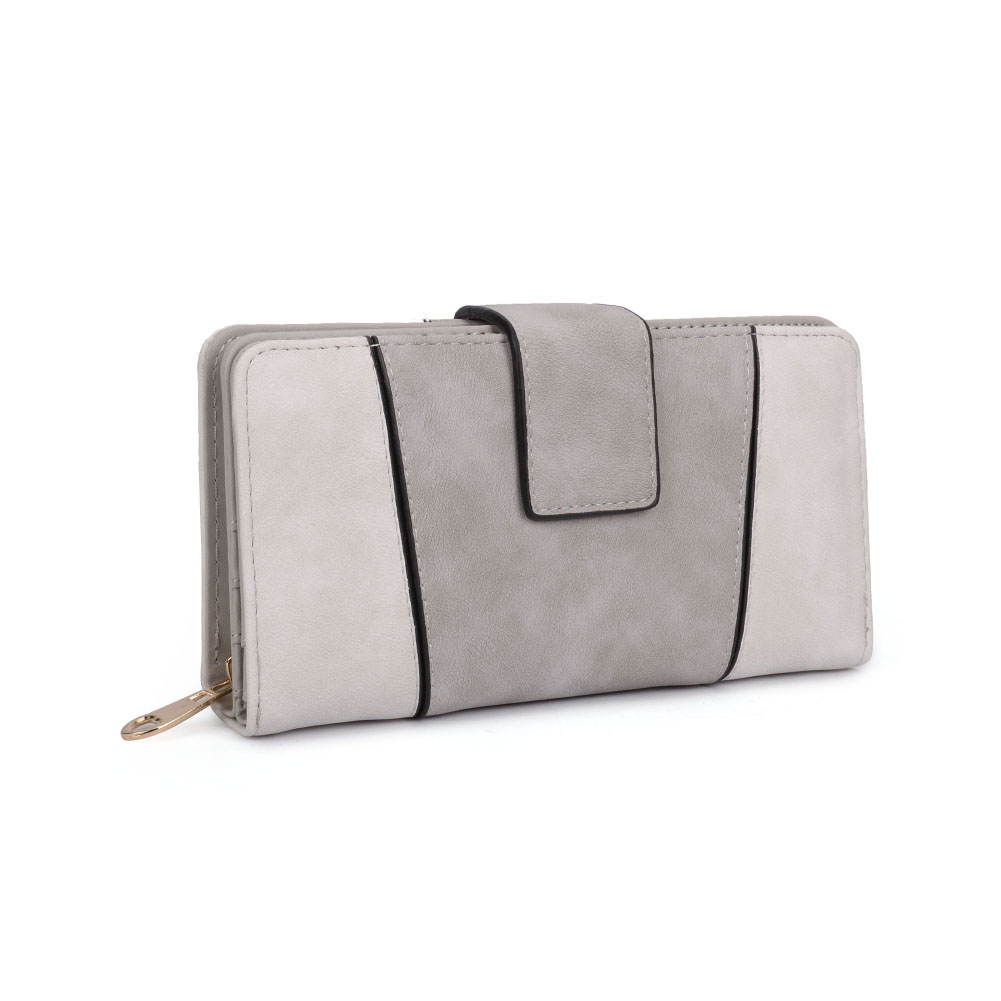 VKP1532 Light Grey - Fashion Patchwork Long Card Purse
