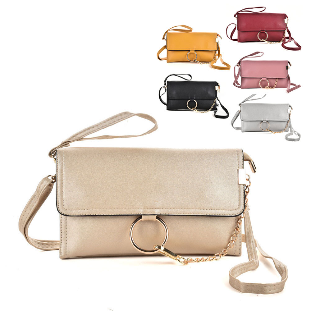 64c0203b4348 VKP1556 Assort Colour 12pcs- Wristlet Clutch Bag With Ring Detail Chain
